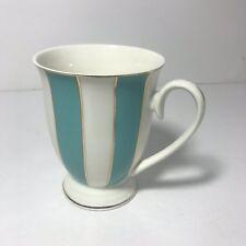 CYNTHIA ROWLEY Porcelain Coffee Cups Tea Mugs White Aqua Blue Striped Gold