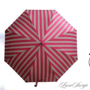 NWT #1 MENSWEAR Brooks Brothers ICONIC Red Gold Repp Stripe Collapsible Umbrella