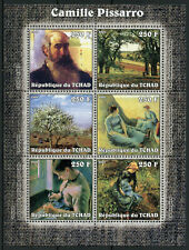 Chad Art Stamps 2002 MNH Camille Pissarro Paintings 6v M/S