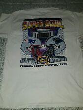 2004 Super Bowl XXXVIII New England vs Carolina White T-Shirt Mens Large