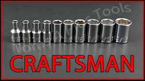 CRAFTSMAN HAND TOOLS 10pc Short Standard 1/4 SAE 6pt ratchet wrench socket set