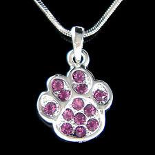 w Swarovski Crystal New ~Purple Dog KITTY CAT Kitten Pawprint Paw Print Necklace