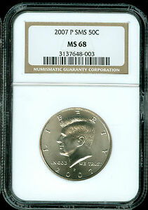 2007-P KENNEDY HALF DOLLAR NGC MS68 SMS 2ND FINEST REGISTRY *