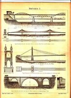 1894 OLD BRIDGES ARCHITECTURE NEW YORK BROOKLYN Antique Engraving Print