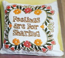 "1972 Paragon Floral ""Feelings are for Sharing"" Linen Stitchery Pillow Kit NIP"