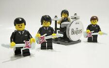 Lego THE BEATLES MINIFIGURES Custom Fab 4 band DRUM KIT & GUITARS Birthday gift!