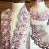 1Yard Retro Lace Fabric Trim Gauze Embroidered Cheongsam Skirt Hem 6.69'' Width