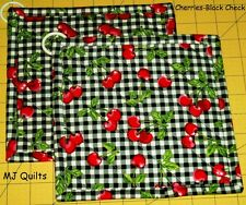 "Set of 2 (8"") Black & White Check w/Cherries-Handmade-Quilted-Insulated-Hot Pads"
