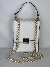GUESS Women's Crossbody HANDBAG White Gold Chain HARDWARE NWT