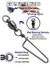 10 Pcs Fishing high-Low Bottom Rigs and 25 Pcs Ball Bearing Swivel Coastlock Snap