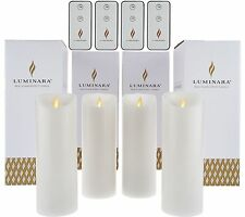 "Luminara 8"" Unscented Flameless Candles with Four Remotes - Set of Four White"