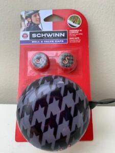 SCHWINN Houndstooth BELL VALVE CAP Set Bicycle Handlebar Mount Cycling New