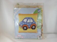Vervaco Stamped Cross Stitch Pillow Kit - New - Blue Car