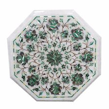 """15"""" White Marble Corner Side Table Top Malachite Inlay Home Decor And Garden"""