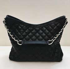 Banana Republic Quilted Satchel Shoulder Chain Leather Bag Purse Tote Black