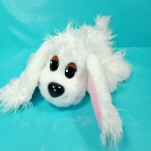"""Pound Puppies Stuffed Animal Plush White Furry Ears Paws Red Collar 14"""" L Poodle"""