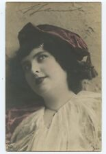 Woman with Purple Scarf Hand Tinted Postcard Foreign