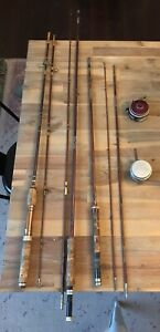 Vtg. Fly Rod Lot Montague Rapidan 3 Pc Bamboo 8-Ft. + Browning Silaflex + More