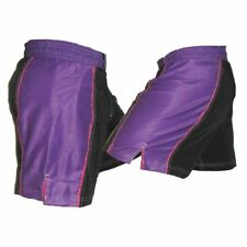 Black and Purple Striped Female Mma Shorts - No Logos - Blank Mma Shorts