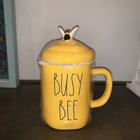 "Rae Dunn 2021 Spring Yellow Mug ""BUSY BEE"" w/Topper NEW HTF 🐝 LL Magenta"