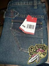 Womens Kobron Flare Blue Denim Jeans Low Rise Sq Pkt Distressed Size 10 / 26*