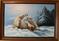 Large Framed Oil Painting on canvas Signed by listed artist H.Carlton