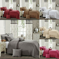 3 Piece Embossed Quilted Bedspread Set Comforter Bed Throw Bedding, Pillow Cover