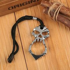 Silver EDC Skull Pendant Keychain Survival Tool Outdoor Emergency Self Defence