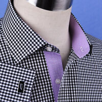 Black Gingham Check Business Dress Shirt Formal Sexy Pink Lilac Plaids & Checks