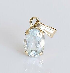 Beautiful 10K 10ct Yellow Gold & Natural Aquamarine Dangle Drop Pendant Necklace