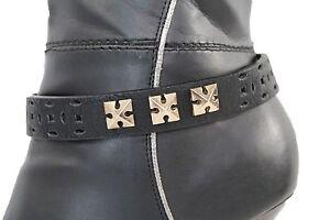 Women Gold Metal Chain Boot Bracelet Anklet Shoe Black Faux Leathe Charm Jewelry
