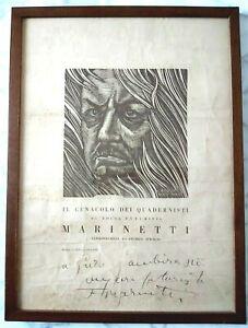 F. T. MARINETTI autografo e dedica su manifesto con suo ritratto.Futurismo.