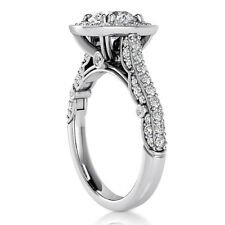 Halo Pave 1.76 Carat SI1/H Round Cut Diamond Engagement Ring White Gold