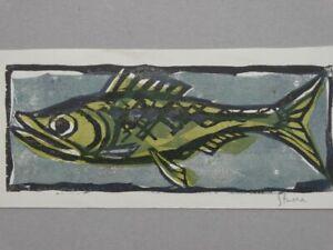 Fisch - Hanns Studer signiert - Holzschnitt in 3 Farben Wasser Tier Flossen 1960