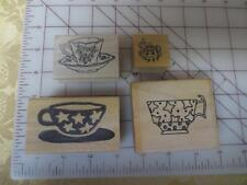 4 Tea Coffee wm rubber stamps PSX B-011 Teapot thinking of You -Liberty Cup -