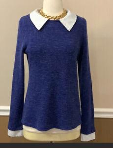Women's Freeway Peter Pan Collar long sleeve Sweater M Medium keyhole back