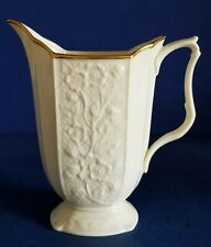 Vintage Ivory Lenox Pitcher Carolina Embossed Gold Trim Footed Made In Usa