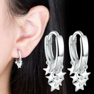 925 Silver Gold Star Tassel Earrings Hoop Dangle Drop Party Women Wedding Gift