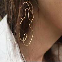 Fashion Women Gold Silver Abstract Face Dangle Drop Earrings Ear Stud Jewelry