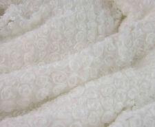 "51"" Wide for Wedding Dress 3D White Chiffon Rosette Bridal Lace Fabric 1/2 Yard"