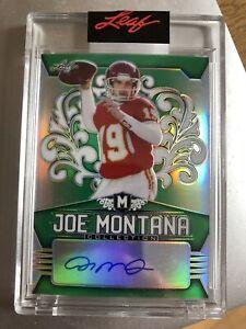 Joe Montana Kansas City Chiefs Leaf 'Joe Montana Collection' 2020 GREEN AUTO /7
