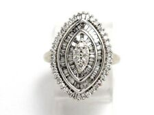 Diamond Cluster Right Hand Ring 2.69ct 10k White Gold Round and Baguette