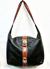 STEFANIA Large Black Leather Hobo Shoulder Bag Braided Strap