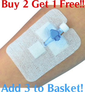Cannula Fixation Dressing Non Woven Self Adhesive Sterile 8 x 6cm or 5.1 x 7.6cm
