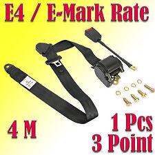 1 X 4M Universal 3 Point Retractable AUTO Car Seat Lap Adjustable Belt E-Mark