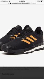 Adidas Men SoleCourt Boost Tennis Shoes Black Orange Sz 9 NWB EF2069