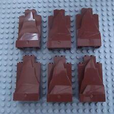 6 Lego Reddish Brown Castle Wall Rock Panel Pieces Knight Build 47847 C008
