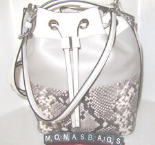 Michael Kors Dottie Grey Creme Leather Large Drawstring Bucket Bag NWT $378