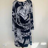LIZ JORDAN Womens Dress Size Medium 12 14 16 Navy Blue White Leaf Print