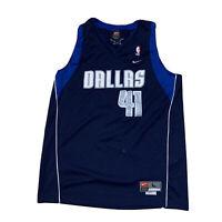 Rare NBA Dallas Mavericks Dirk Nowitzki Jersey By Nike Size L Clean Navy